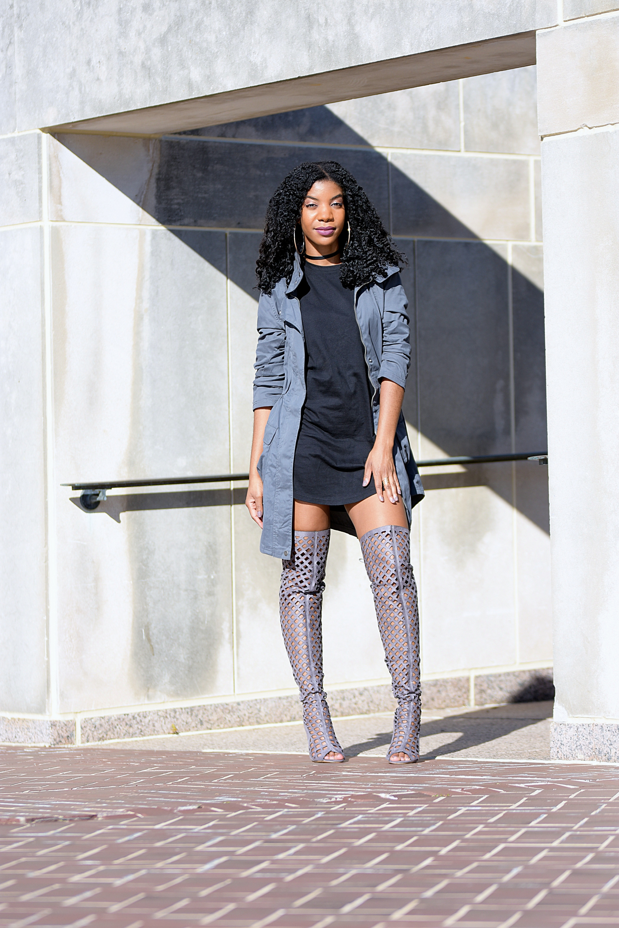 39430789a526 gray target military jacket, gray amiclubwear thigh high cutout boots,  black forever21 tshirt dress