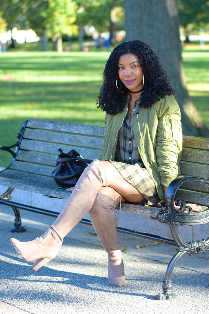 Target green plaid shirtdress, Fashion Nova green bomber jacket , Boohoo taupe OTK boots, Black Forever21 bucket purse, black forever21 faux leather choker