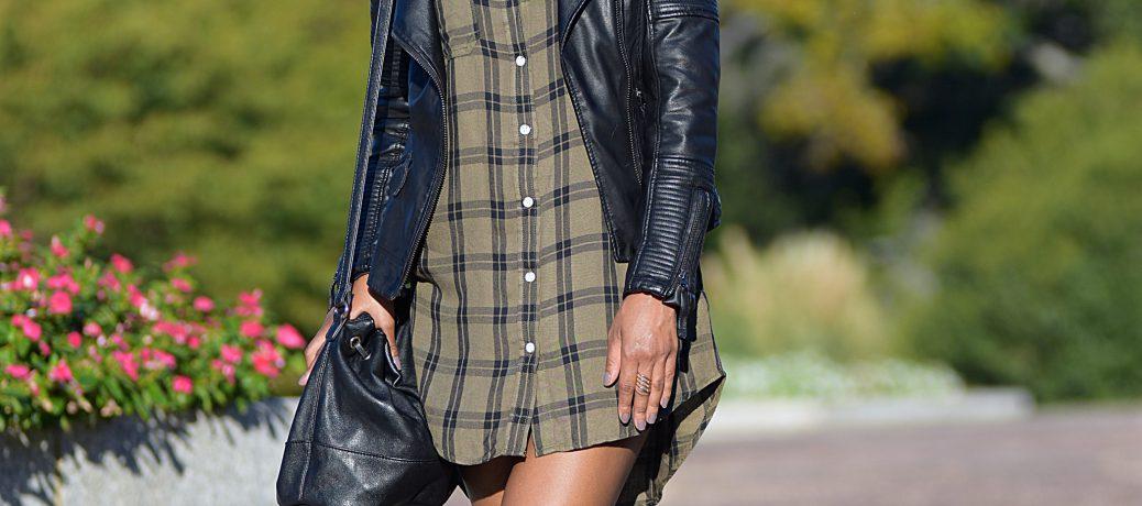 Fall Style: Plaid Shirt Dress + Jacket + OTK Boots Two Ways