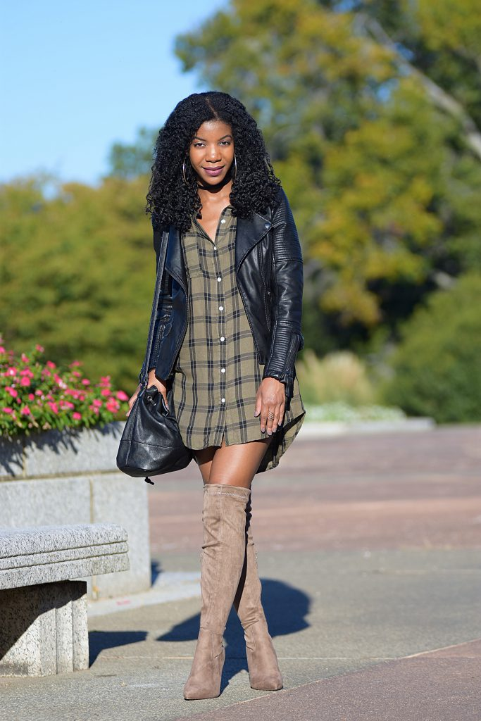 Target green plaid shirtdress, TopShop leather jacket , Boohoo taupe OTK boots, Black Forever21 bucket purse, black forever21 faux leather choker