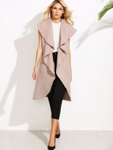 Pink Oversized Waterfall Sleeveless Coat