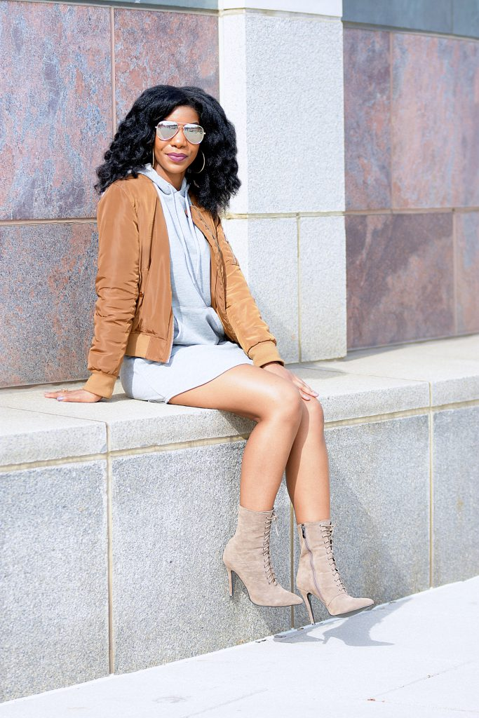 Romwe Grey Sweatshirt Dress, Fashion Nova Coffee Notorious Bomber Jacket, Simmi Shoes Taupe Aaliyah Pointed Ankle Boots