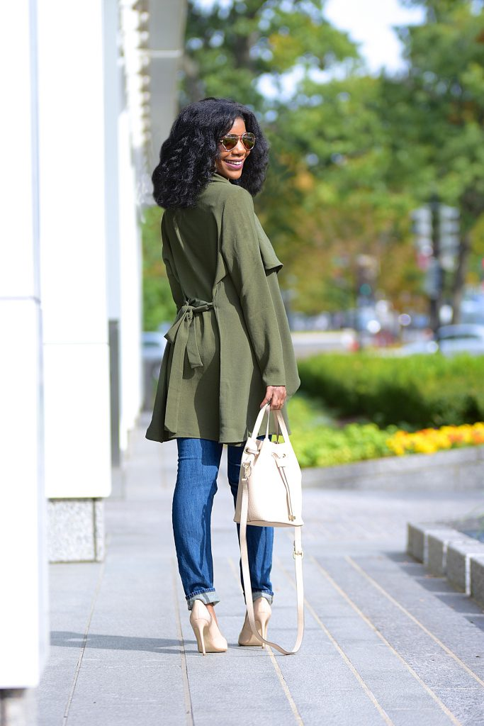 SheIn Army Green Waterfall Jacket, Olive Green Lapel Tie Long Sleeve Outerwear, Olive Green Jacket, Distressed Boyfriend Jeans, Nude Pumps, Cream Purse