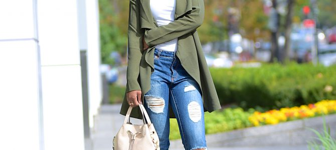Fall Style: Green SheIn Wrap Jacket + Ripped Boyfriend Jeans