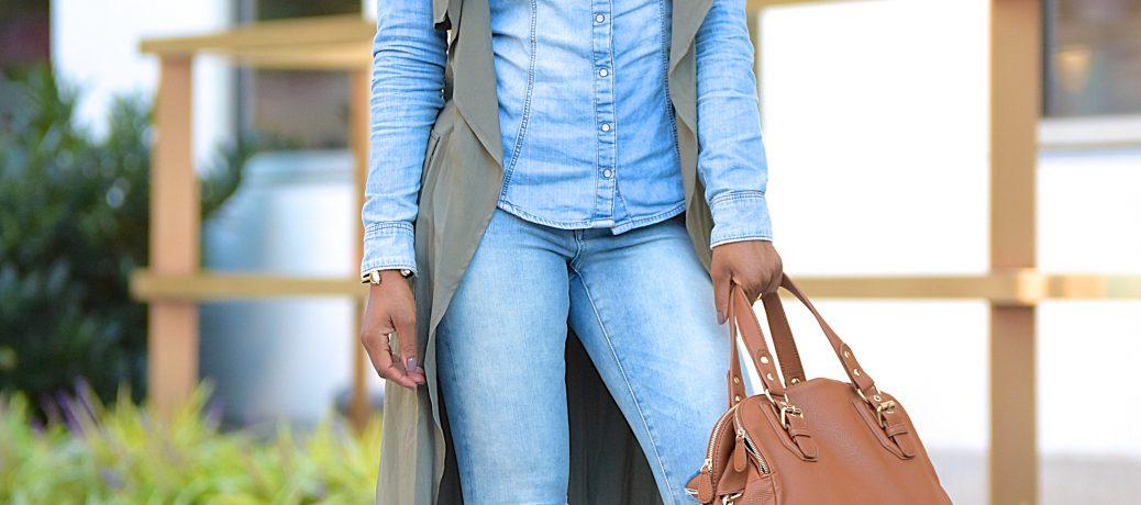 Fall Style: Denim on Denim + Olive Green Longline Vest + Romwe Sale