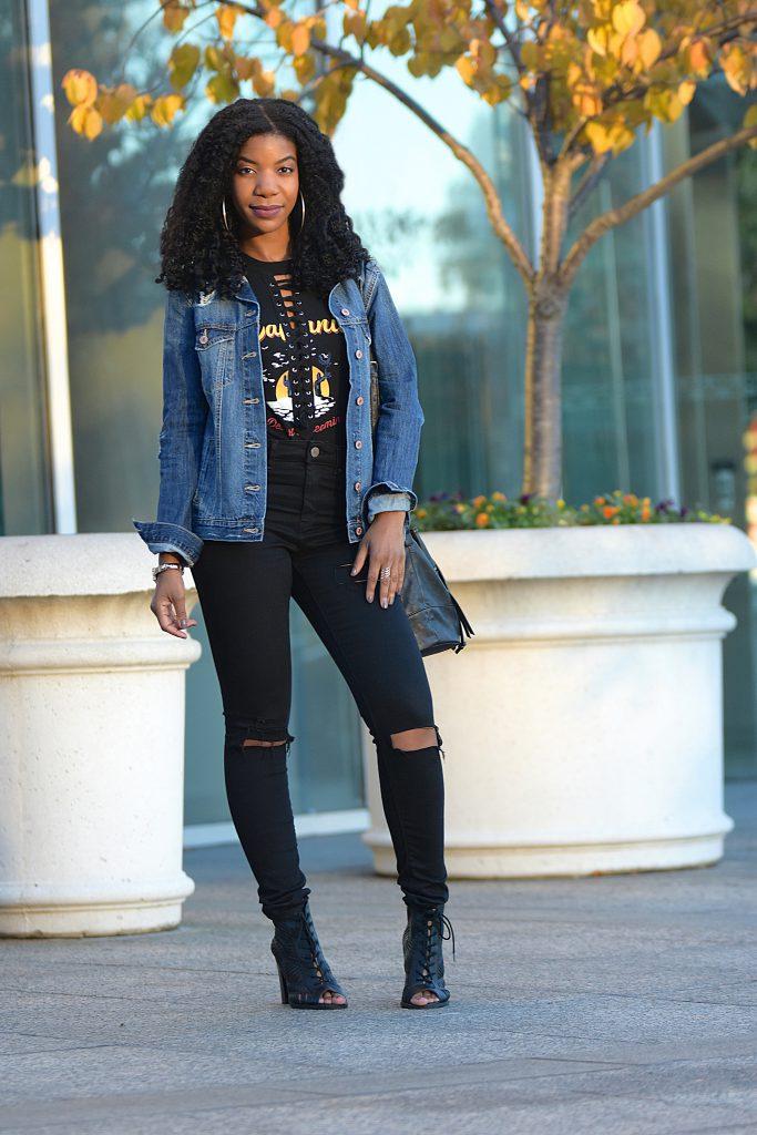 Forever 21 Distressed Denim Jacket, Black Lace up Concert Tank Top Bodysuit, Black Ripped Denim Jeans, Black Open Toe Booties, Black Bucket Bag