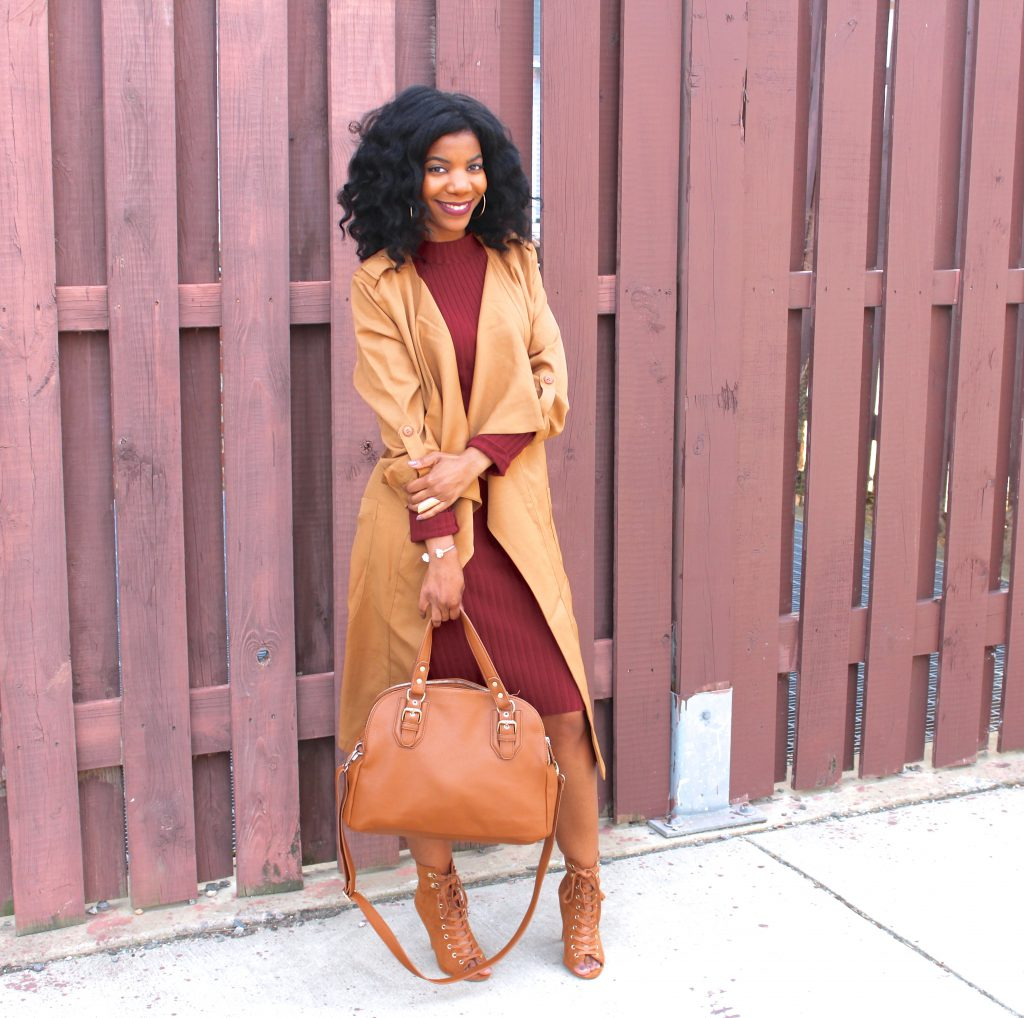 Camel Trenchcoat , Burgundy Sweaterdress, Camel Open Toe Lace Up Booties, Camel Purse