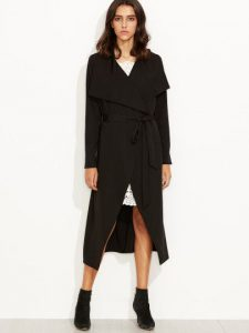 Black Drape Collar Longline Wrap Coat