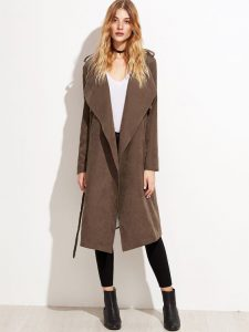 Brown Faux Suede Layered Wrap Coat