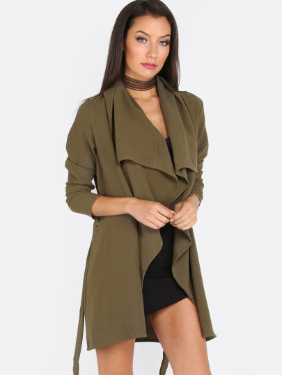 SheIn Army Green Waterfall Jacket, Olive Green Lapel Tie Long Sleeve Outerwear