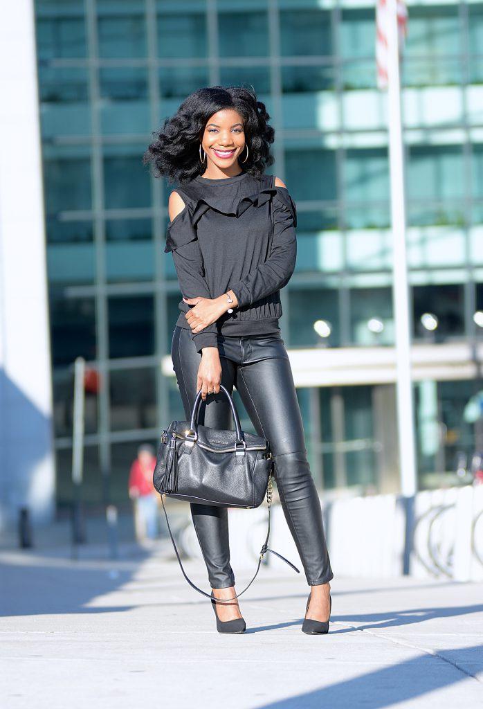 31b935f2f2a Fall Style  Black Romwe Cold Shoulder Shirt + Black Vegan Leather ...