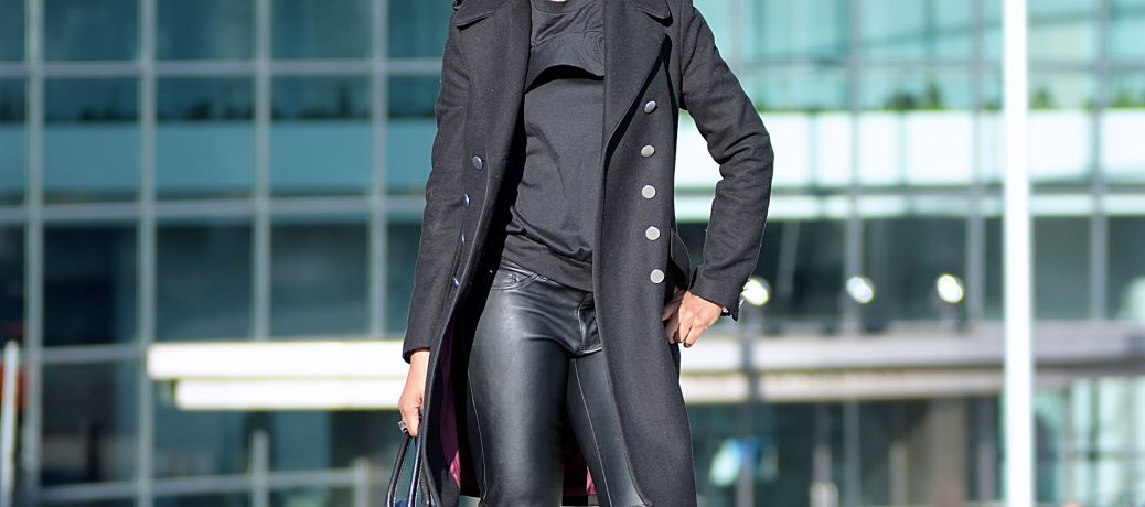 Fall Style: Black Romwe Cold Shoulder Shirt + Black Vegan Leather Pants