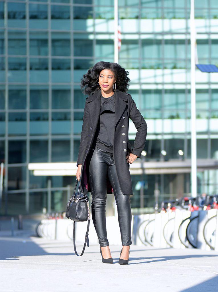 Romwe Cold Shoulder Black Top, H&M Black Vegan Leather Pants, H&M Black Long Line Coat, Michael Kors Black Handle Purse with Gold Chain, Black Suede Pumps