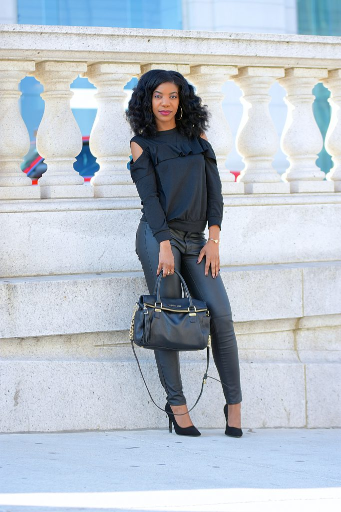 Romwe Cold Shoulder Black Top, H&M Black Vegan Leather Pants, H&M Black Long Line Coat, Michael Kors Black Handle Purse with Gold Chain, Black Suede Pumps
