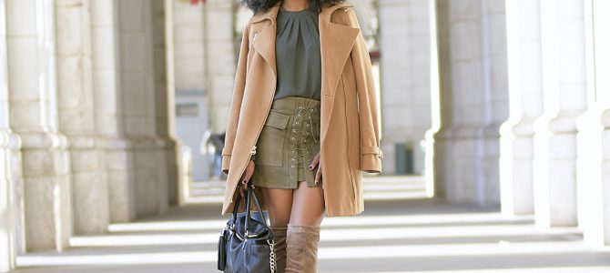Fall Style: Green Top + Romwe Lace Up Skirt + Camel Coat