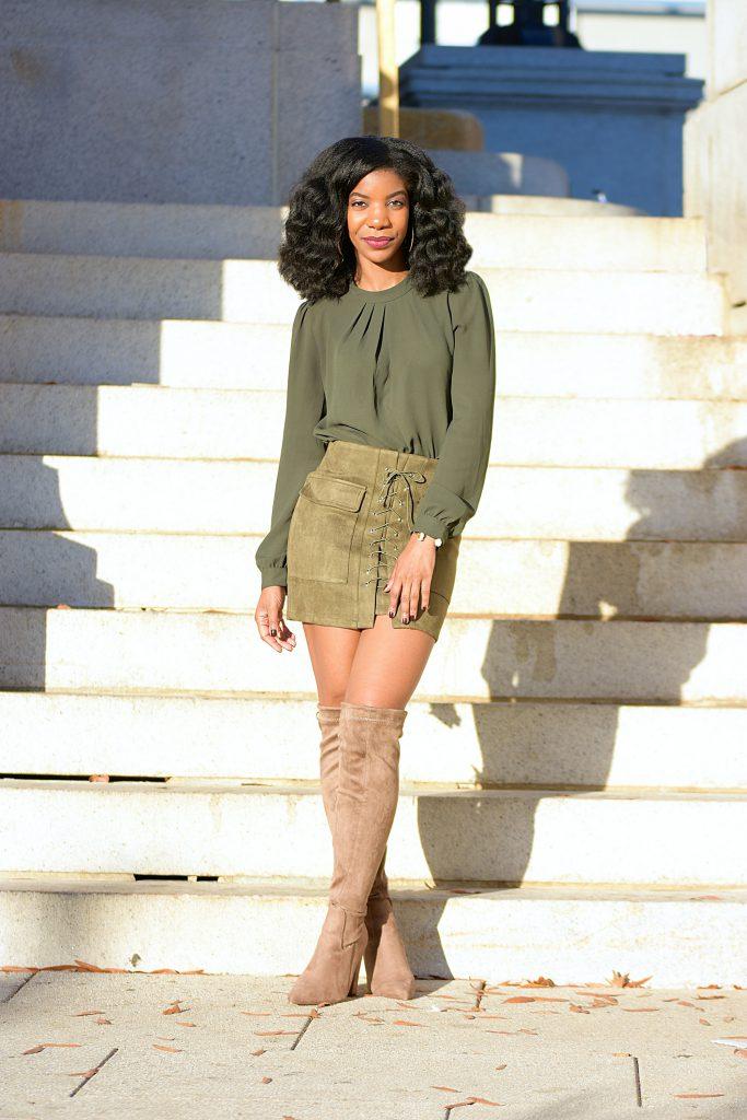 Monochrome Green Outfit, Green Top, Romwe Army Green Skirt, Michael Kors Camel Coat, Boohoo Taupe OTK Boots, Black Michael Kors Purse