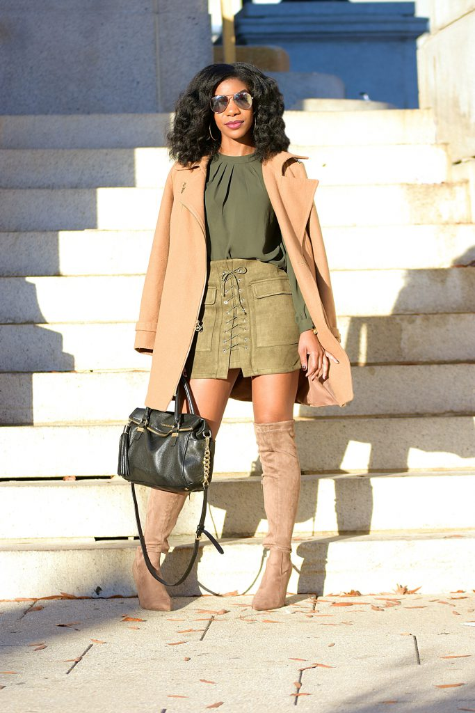 Monochrome Green Outfit, Green Top, Romwe Army Green Skirt, Michael Kors Camel Coat, Boohoo Taupe OTK Boots, Black Michael Kors Purse