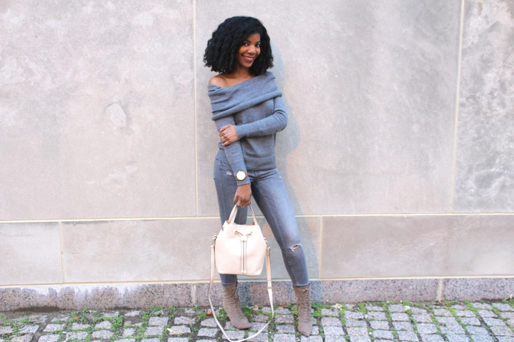 Grey SheIn Sweater, Gray Zara Distressed Jeans, Camel Long line Coat, Jord Woodwatch, Taupe Simmi Aaliyah Taupe Pointed Ankle Boots, Target Bone Purse