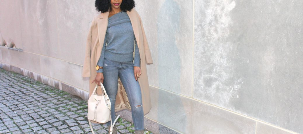 Winter Style: Gray SheIn Sweater + Gray Jeans + Camel Coat