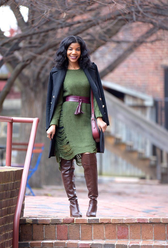Romwe Green Sweater Dress, Burgundy Waistbelt, Burgundy Coach Saddlebag, Brown Forever21 OTK Boots, Black H&M Longline Military Coat