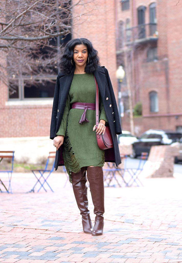 3c4124f85d1 Winter Style  Romwe Green Sweater Dress + Brown OTK Boots + Burgundy ...