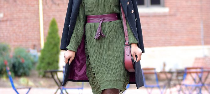 Winter Style: Romwe Green Sweater Dress + Brown OTK Boots + Burgundy Accents