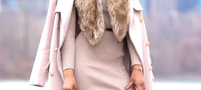 Winter Style: Nude Longline Military Coat + Nude Sweater Dress + Nude OTK Boots