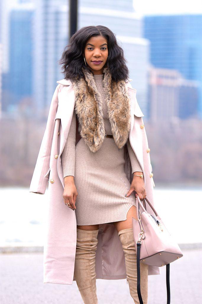 Khaki SheIn Sweater Dress, Tan Faux Fur Scarf, Taupe Peep Toe OTK Boots Wheat Longline Coat, Taupe Over The Knee Boots, Tauper Peep Toe Over The Knee Boots, Monochrome Outfit, Neutrals, Neutral Monotone Outfit