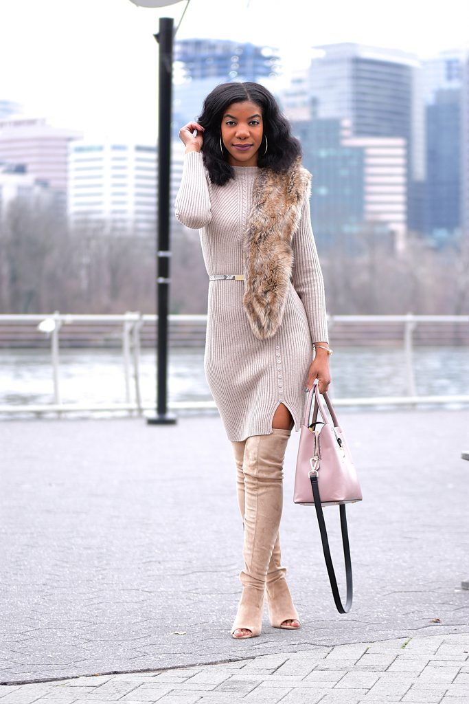 Khaki SheIn Sweater Dress, Tan Faux Fur Scarf, Taupe Peep Toe OTK Boots Wheat Longline Coat, Taupe Over The Knee Boots, Tauper Peep Toe Over The Knee Boots, Monochrome Outfit, Neutrals, Neutral Monotone Outfit