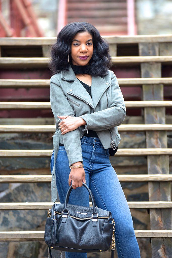 Black Romwe Choker V Neck Sweater, Green Faux Suede Moto Jacket, Zara High Waist Skinny Jeans, GreenAnkleBooties