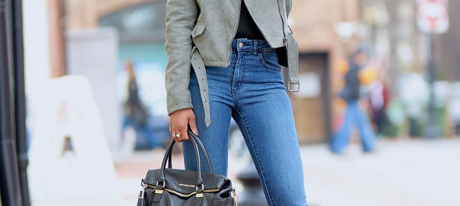 Winter Style: Olive Green Moto Jacket + Black Choker V-Neck Sweater + Denim