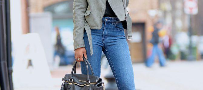 Winter Style: Olive Green Moto Jacket + Black Choker V-Neck Sweater + Denim