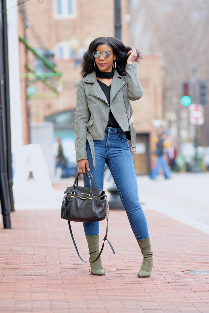 Black Romwe Choker V Neck Sweater, Green Faux Suede Moto Jacket, Zara High Waist Skinny Jeans, GreenAnkleBooties