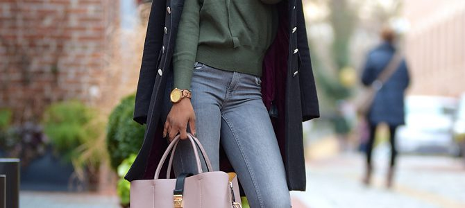 Winter Style: Khaki Green SheIn Sweater + Gray Jeans + Military Jacket