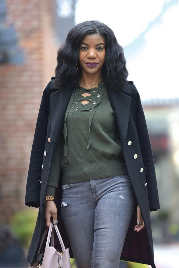 Army Green SheIn Sweater, Gray Zara Jeans, Simmi Taupe Boots, H&M Black Military Longline Coat