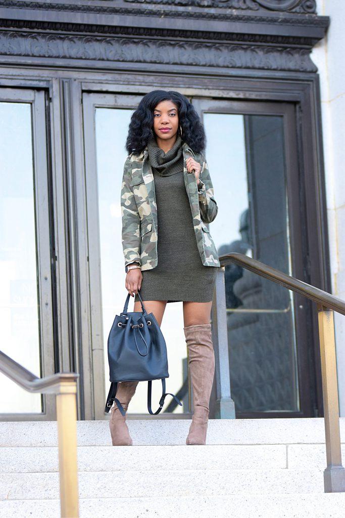Camo Military Jacket, Khaki Green Sweaterdress, Taupe OTK boots, Black Bookbag Purse