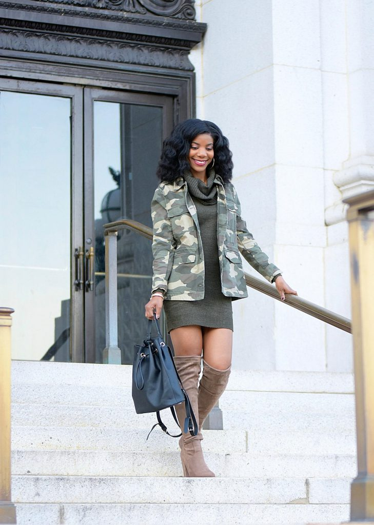 Camo Military Jacket, Khaki Green Sweaterdress, Taupe OTK boots, Black Bookbag Purse