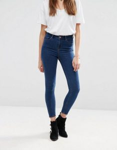 ASOS Ridley High Waist Skinny Ankle Grazer Jeans in Kelsey Deep Blue Wash