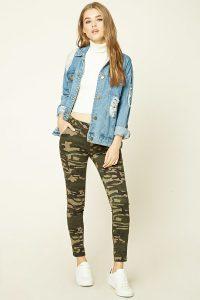 Green Brown Tan Camo Print Pants, Camouflage Print Pants, Military, Army Print