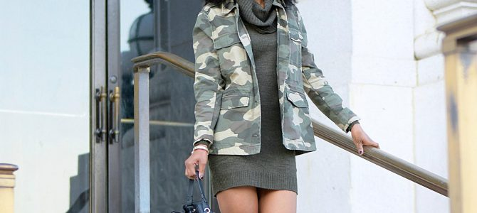 Winter Style: Camo Print Military Jacket + Khaki Green Sweater Dress + Blogger Collaboration