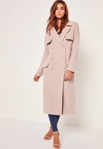 LONGLINE FAUX WOOL MILITARY COAT NUDE, Missguided