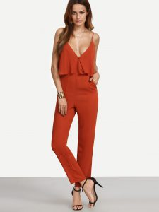 SheIn Red Sleeveless Spaghetti Strap Pockets Jumpsuit