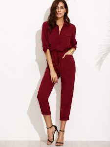SheIn Burgundy Tie Waist Pocket Rolled Sleeve Jumpsuit