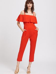 SheIn Red Ruffle Cold Shoulder Capris Jumpsuit