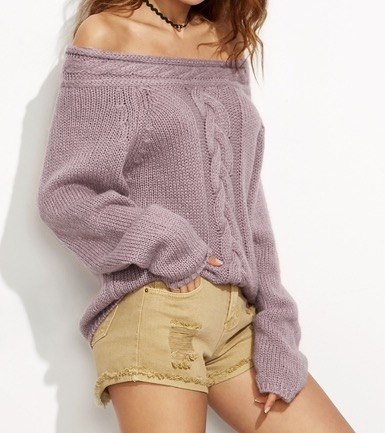 Romwe Purple Cable Knit Off The Shoulder Sweater