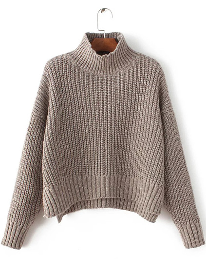 Romwe Coffee Mock Neck Drop Shoulder Dip Hem Sweater