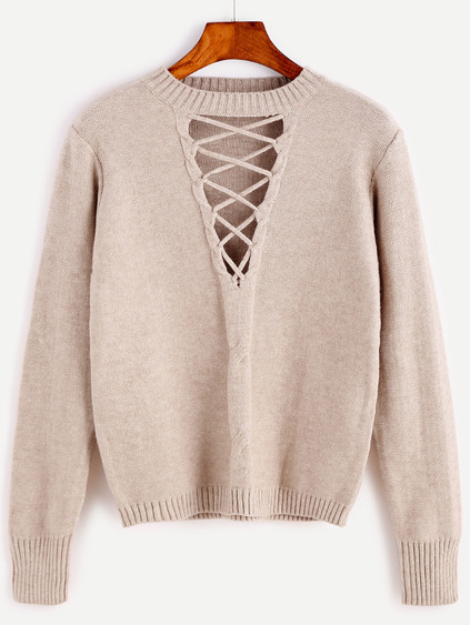 Romwe Coffee Cutout Lace Up Cable Knit Sweater