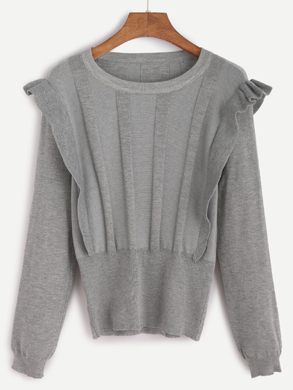 Romwe Grey Ruffle Trim Jersey Sweater