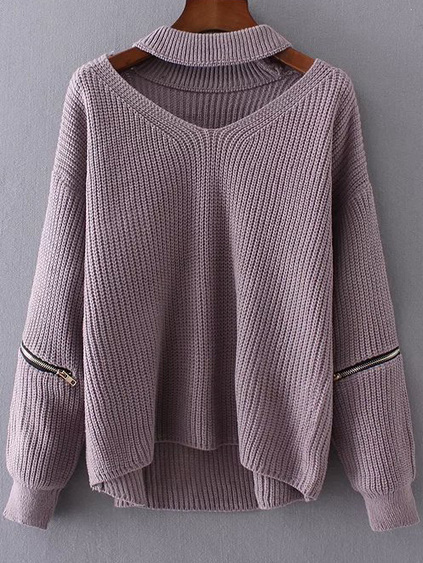 Romwe Purple Choker V Neck Zipper Detail Sweater