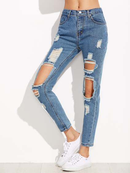 romwe Blue Distressed Knees Ankle Jeans, high waist jeans, mom jeans, ripped jeans